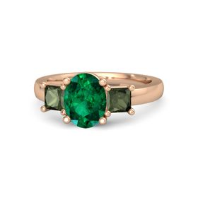 Oval Emerald 14K Rose Gold Ring with Green Tourmaline