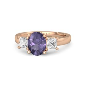Oval Iolite 14K Rose Gold Ring with White Sapphire