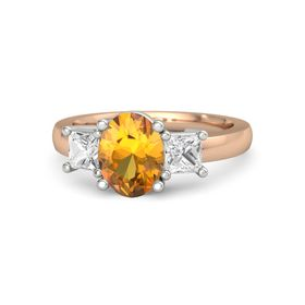 Oval Citrine 14K Rose Gold Ring with White Sapphire