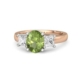 Oval Peridot 14K Rose Gold Ring with White Sapphire