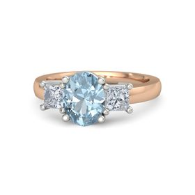 Oval Aquamarine 14K Rose Gold Ring with Moissanite