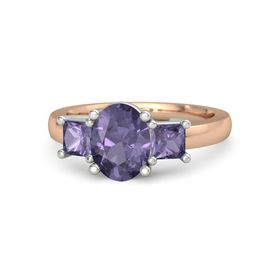 Oval Iolite 14K Rose Gold Ring with Iolite