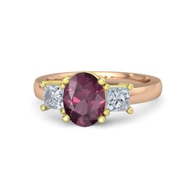 Oval Rhodolite Garnet 14K Rose Gold Ring with Diamond