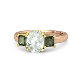 Oval Green Amethyst 14K Rose Gold Ring with Green Tourmaline