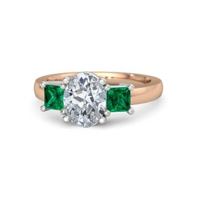 Oval Diamond 14K Rose Gold Ring with Emerald