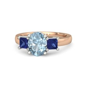 Oval Aquamarine 14K Rose Gold Ring with Blue Sapphire