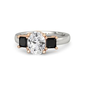 Oval White Sapphire 14K White Gold Ring with Black Onyx