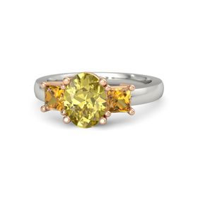 Oval Yellow Sapphire 14K White Gold Ring with Citrine