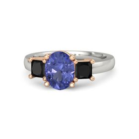 Oval Tanzanite 14K White Gold Ring with Black Onyx
