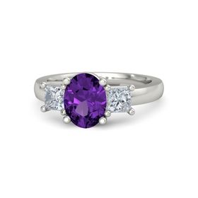 Oval Amethyst 14K White Gold Ring with Diamond