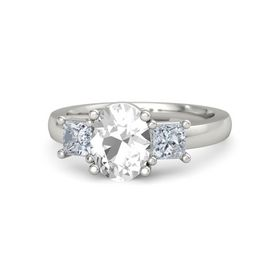 Oval Rock Crystal 14K White Gold Ring with Diamond