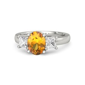 Oval Citrine 14K White Gold Ring with White Sapphire