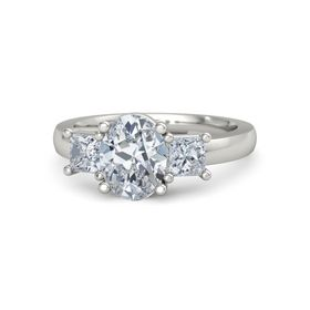 Oval Moissanite 14K White Gold Ring with Diamond