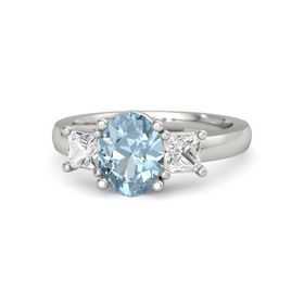 Oval Aquamarine 14K White Gold Ring with White Sapphire