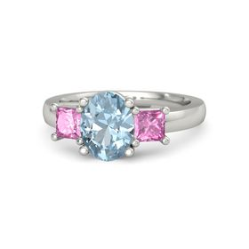 Oval Aquamarine 14K White Gold Ring with Pink Sapphire