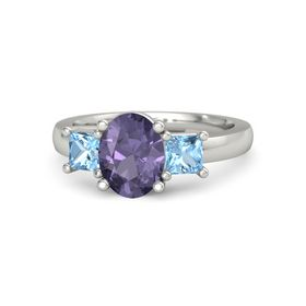 Oval Iolite 14K White Gold Ring with Blue Topaz