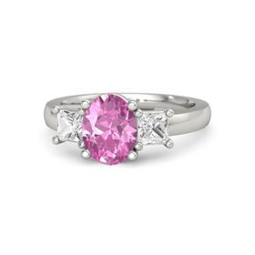 Oval Pink Sapphire 14K White Gold Ring with White Sapphire