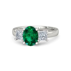 Oval Emerald 14K White Gold Ring with Diamond