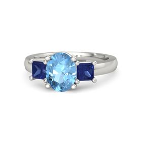 Oval Blue Topaz 14K White Gold Ring with Sapphire
