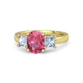 Oval Pink Tourmaline 14K Yellow Gold Ring with Aquamarine