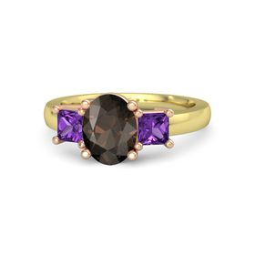 Oval Smoky Quartz 14K Yellow Gold Ring with Amethyst