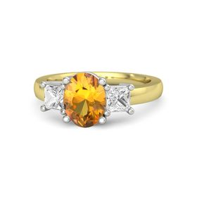 Oval Citrine 14K Yellow Gold Ring with White Sapphire