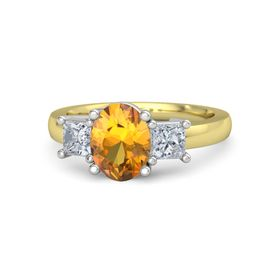 Oval Citrine 14K Yellow Gold Ring with Moissanite
