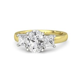 Oval White Sapphire 14K Yellow Gold Ring with White Sapphire