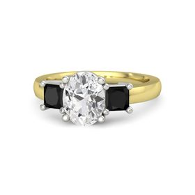 Oval White Sapphire 14K Yellow Gold Ring with Black Onyx