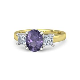 Oval Iolite 14K Yellow Gold Ring with Diamond