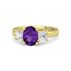 Oval Amethyst 14K Yellow Gold Ring with White Sapphire