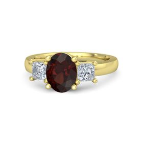 Oval Red Garnet 14K Yellow Gold Ring with Moissanite