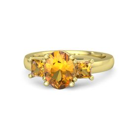 Oval Citrine 14K Yellow Gold Ring with Citrine