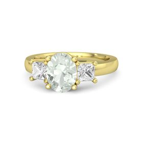 Oval Green Amethyst 14K Yellow Gold Ring with White Sapphire