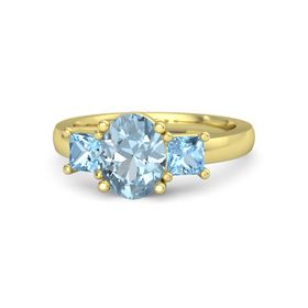 Oval Aquamarine 14K Yellow Gold Ring with Blue Topaz