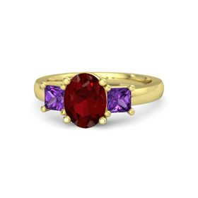 Oval Ruby 14K Yellow Gold Ring with Amethyst