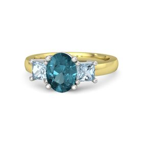 Oval London Blue Topaz 14K Yellow Gold Ring with Aquamarine