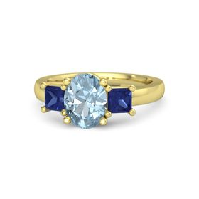Oval Aquamarine 14K Yellow Gold Ring with Blue Sapphire