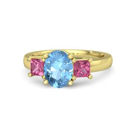Oval Blue Topaz 14K Yellow Gold Ring with Pink Tourmaline