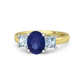 Oval Blue Sapphire 14K Yellow Gold Ring with Aquamarine