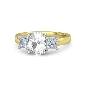 Oval Rock Crystal 14K Yellow Gold Ring with Diamond