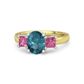Oval London Blue Topaz 14K Yellow Gold Ring with Pink Tourmaline