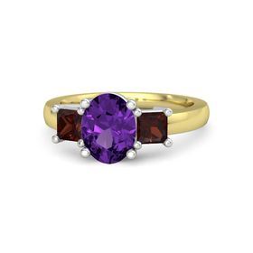 Oval Amethyst 14K Yellow Gold Ring with Red Garnet
