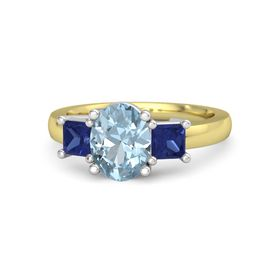 Oval Aquamarine 14K Yellow Gold Ring with Sapphire