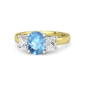 Oval Blue Topaz 14K Yellow Gold Ring with White Sapphire
