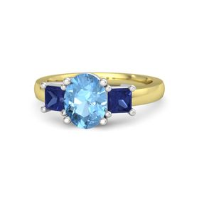 Oval Blue Topaz 14K Yellow Gold Ring with Sapphire