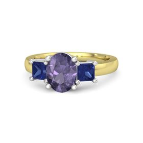 Oval Iolite 14K Yellow Gold Ring with Blue Sapphire