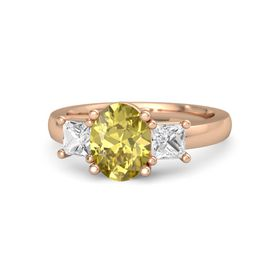 Oval Yellow Sapphire 18K Rose Gold Ring with White Sapphire