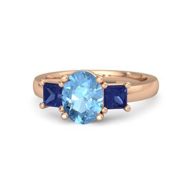 Oval Blue Topaz 18K Rose Gold Ring with Blue Sapphire