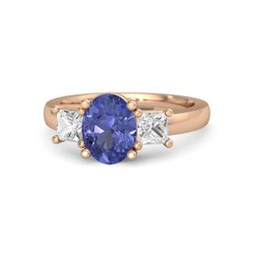 Oval Tanzanite 18K Rose Gold Ring with White Sapphire